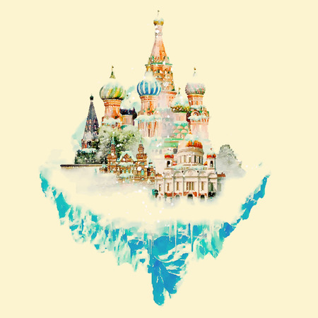moskva: MOSCOW surroundings watercolor illustration