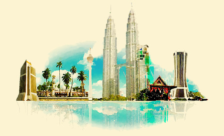city buildings: vector watercolor KUALA LUMPUR city illustration