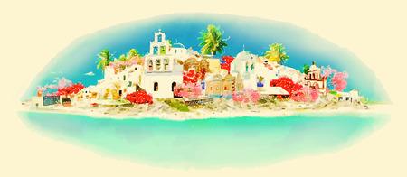 santorini: vector watercolor SANTORINI city illustration Illustration