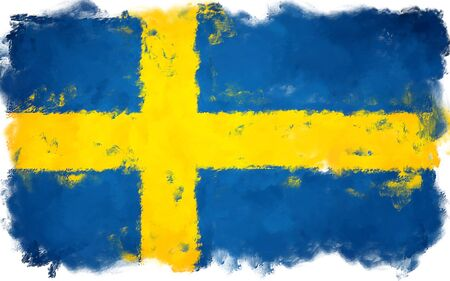 oil painting grunge effected illustration of SWEDEN flag