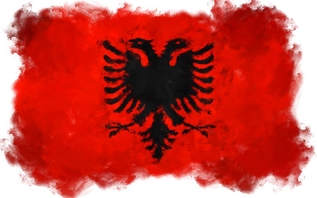 albanian: oil painting grunge effected illustration of ALBANIA flag Stock Photo