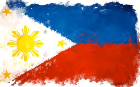 oil painting grunge effected illustration of PHILIPINES flag