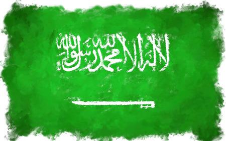 national: pintura al óleo grunge ilustración de la bandera efectuado Arabia Saudita Foto de archivo