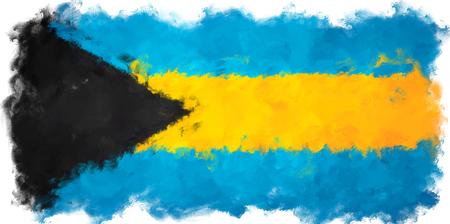 bahama: oil painting grunge effected illustration of bahamas flag