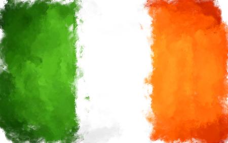 olieverfschilderij grunge uitgevoerd illustratie van Ierland vlag