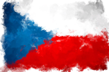 czech: oil painting grunge effected illustration of czech republic flag