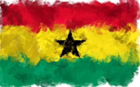 sackcloth: oil painting grunge effected illustration of ghana flag