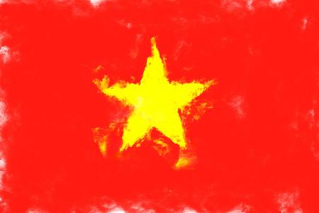vietnam flag: oil painting grunge effected illustration of vietnam flag