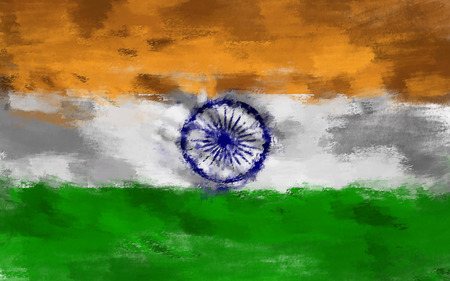 proportional: oil painting grunge effected illustration of India flag Stock Photo