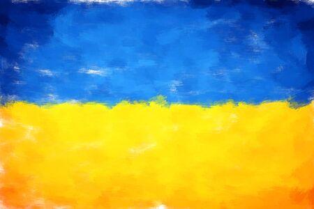 ukraine: oil painting grunge effected illustration of ukraine flag