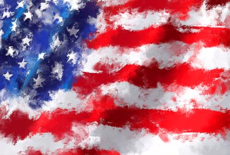 waving flag: oil painting grunge effected illustration of USA flag