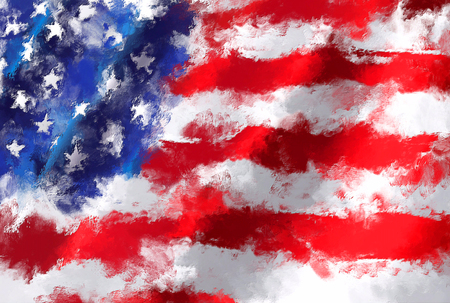 oil painting grunge effected illustration of USA flag