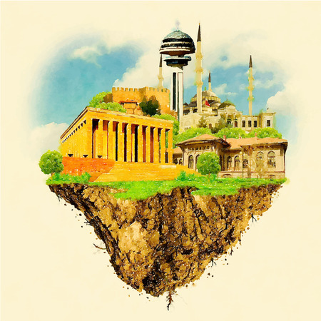 ANKARA city on floating land high resolution water color illustration Çizim