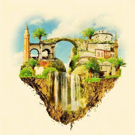 ANTALYA city on floating land high resolution water color illustration Illustration