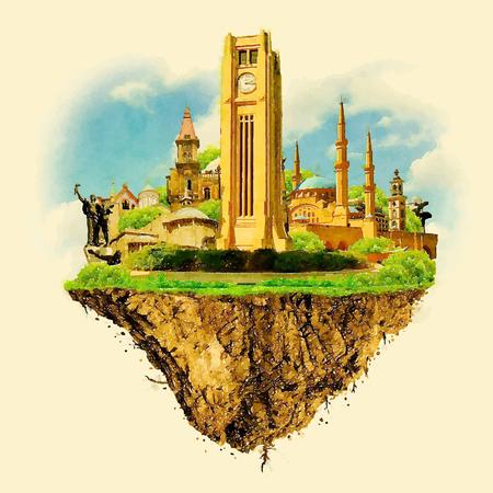 beirut: BEIRUT city on floating land vector water color illustration Illustration