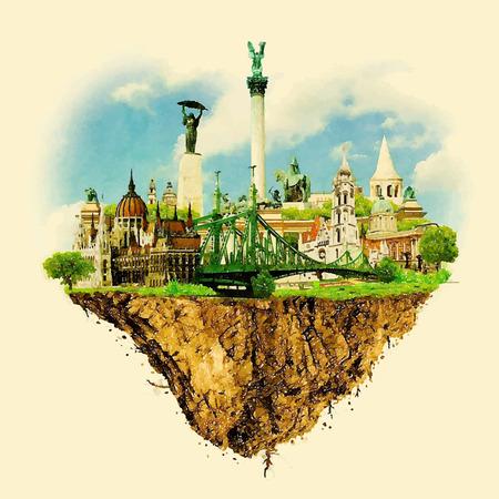 BUDAPEST stad op drijvende land vector water kleur illustratie Stock Illustratie