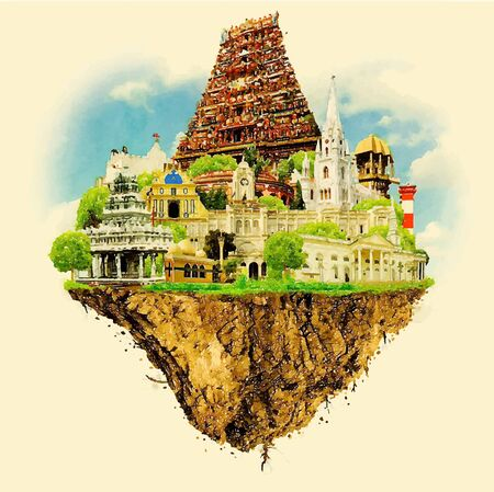 CHENNAI city on floating land vector water color illustration