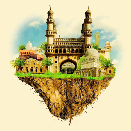 HYDERABAD city land vector floating on water color illustration