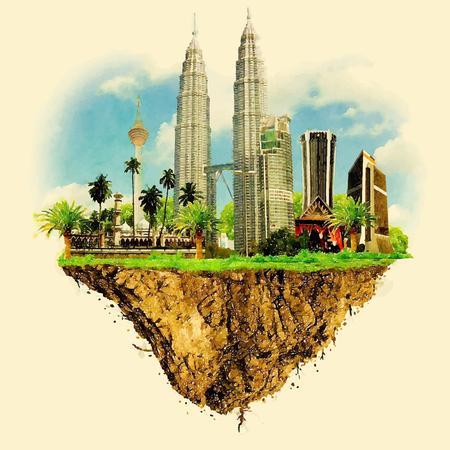 KUALA LUMPUR-de vector die van het stadsland op de illustratie van de waterkleur drijven