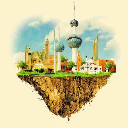 kuwait: Kuwait city land vector floating on water color illustration