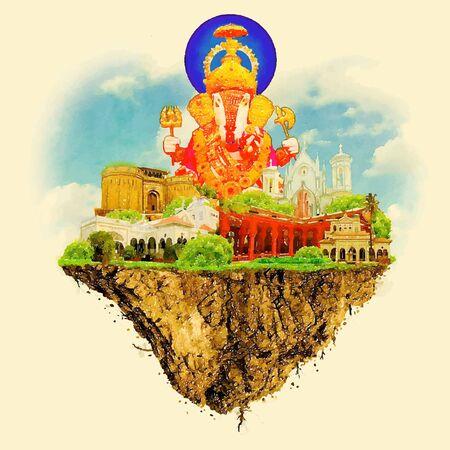 Pune city land vector floating on water color illustration Illustration