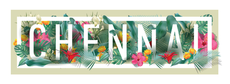 vector floral framed typographic CHENNAI city artwork Illustration