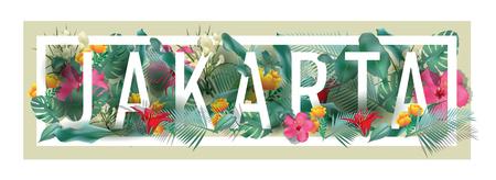 Vector floral framed typographic JAKARTA city artwork