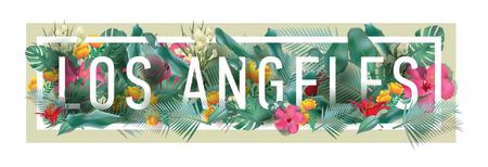 Vector floral framed typographic LOS ANGELES city artwork