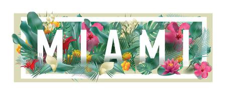 vector floral framed typographic MIAMI city artwork Illustration