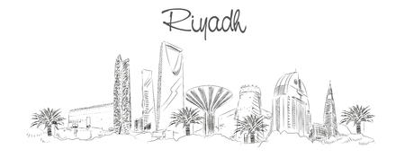 vector panoramic hand drawing sketch illustration of RIYADH city
