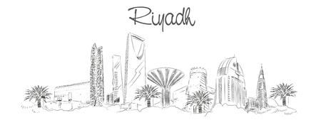 Vektor Panorama Handzeichnung Skizze Illustration der Stadt Riad
