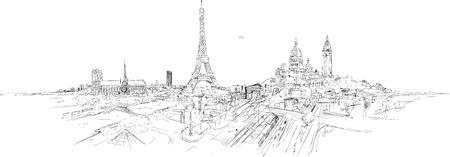 wektor rysunek wyimaginowany widok paryża