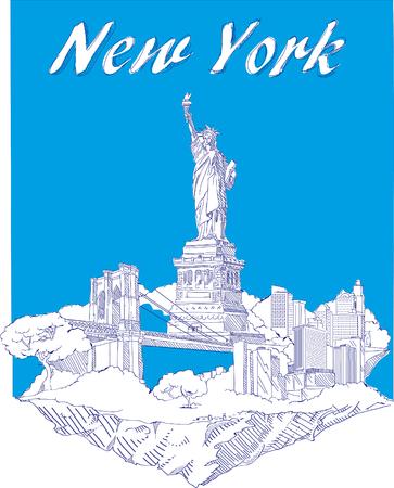 vector hand drawing new york city scene