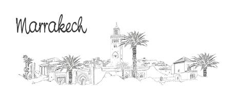 Marrakesh city hand drawing panoramic illustration artwork