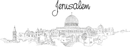 vector panoramic hand drawing sketch illustration of JERUSALEM city Ilustração