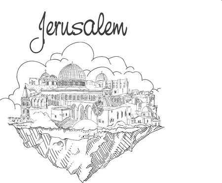 vector hand drawing flying land JERUSALEM city