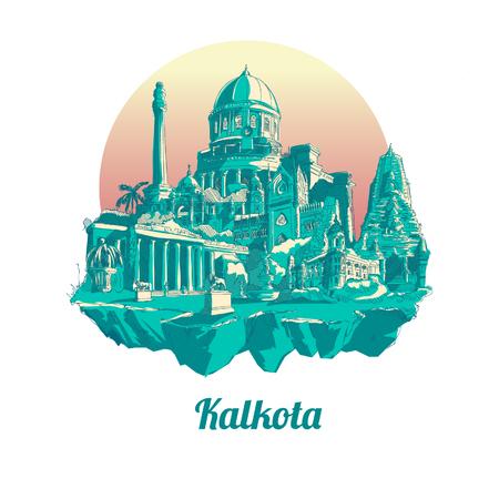 Kolkata hand drawing panoramic illustration artwork Иллюстрация