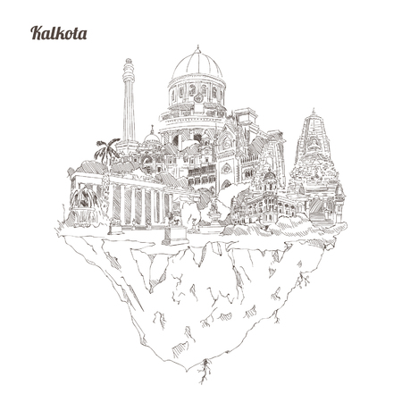 KLCC hand drawing panoramic illustration artwork