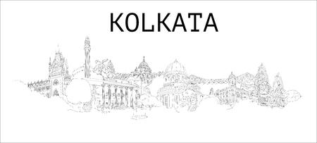 Kolkata city hand drawing panoramic illustration artwork