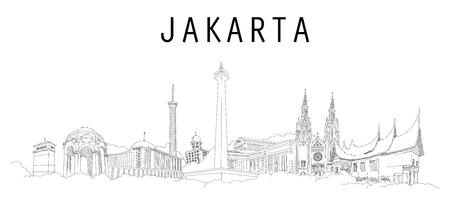 JAKARTA city hand drawing panoramic illustration artwork