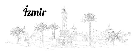 IZMIR city hand drawing panoramic illustration artwork Иллюстрация