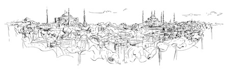 vector sketch hand drawing panoramic istanbul silhouette