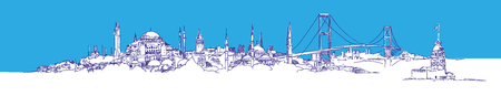 vector hand drawing panoramic ISTANBUL city view