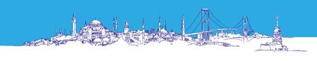 Dibujo a mano alzada, vector vista panorámica de la ciudad de Estambul