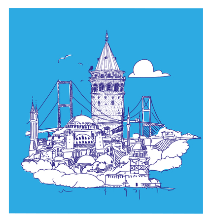 vector hand drawing ISTANBUL view Stock Illustratie