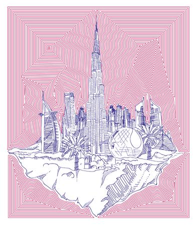 vector hand drawing flying land DUBAI city