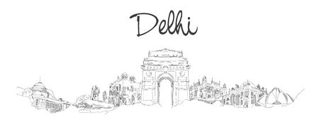 vector panoramic hand drawing sketch illustration of DELHI city