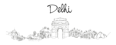 vector panoramic hand drawing sketch illustration of DELHI city
