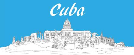 vector hand drawing panoramic cuba illustration