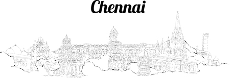 CHENNAI city hand drawing panoramic illustration artwork